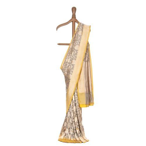 Phool Zari Jaal Grey Silk Saree