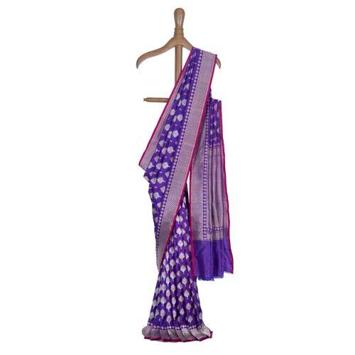 Phulkari Buti Purple Silk Saree