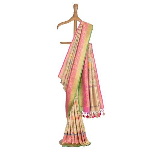 Minakari Banarasi Handwoven Tussar Silk Saree