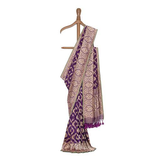 Almond Eyes Purple Banarasi Handwoven Silk Saree