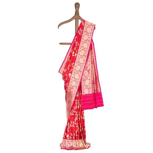 Lata Candy Red Silk Saree