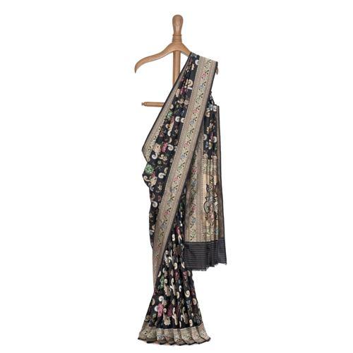 Gyasar Dohra Silk Black Saree