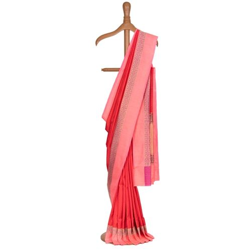 Bulbuley Tanchoi Red Silk Saree