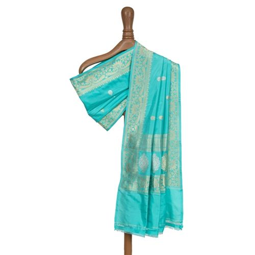 Chameli Turquoise Blue Silk Dupatta