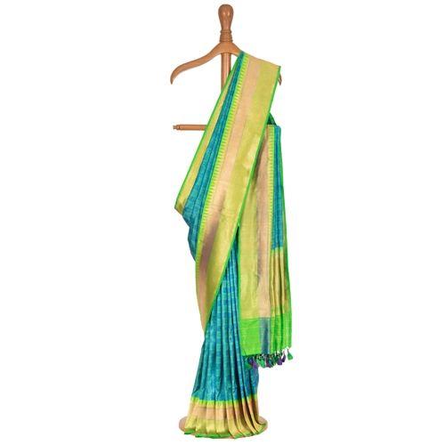 Shatranj Chouka Tanchoi Blue Silk Saree