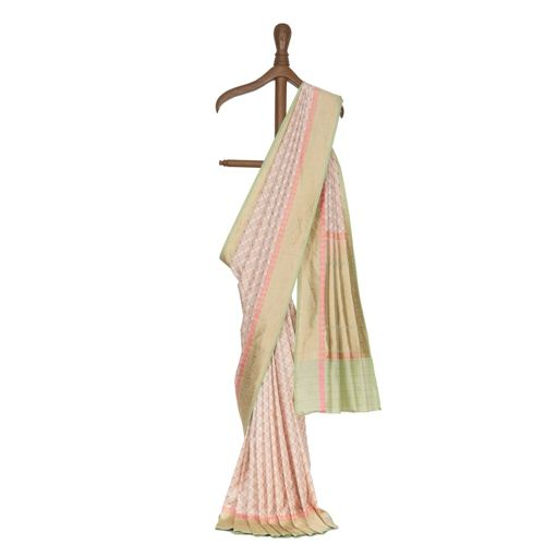Chouka Zari Pearl White Silk Saree
