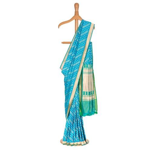 Bel Patta Aada Turquoise Silk Saree
