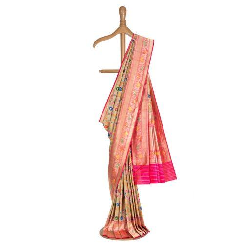 Minakari Jungla Banarasi Handwoven Tussar Silk Saree