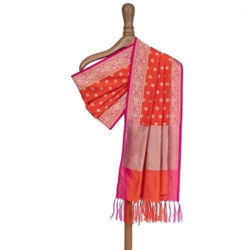 Gul Buti Orange Silk Dupatta