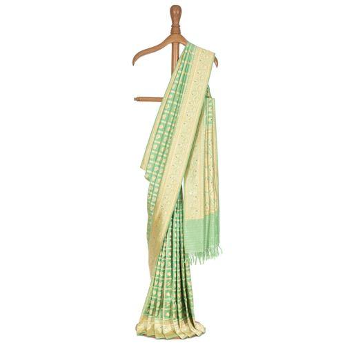 Mehr-un-Nissa Real Zari Mint Silk Saree