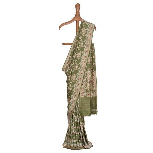Gul Jungla Minakari Olive Green Silk Saree