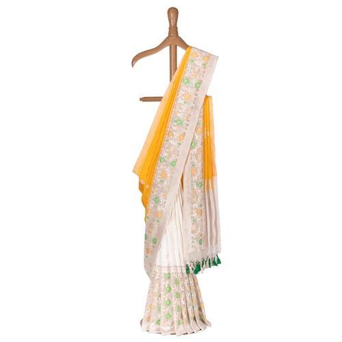 Swarna Yellow Kora Silk Saree