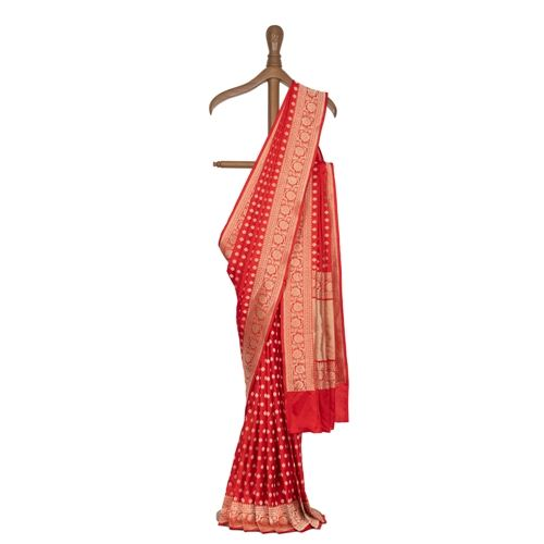 Chunri Buti Scarlet Red Silk Saree