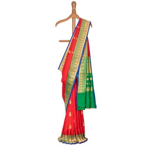 Gulabdani Red Silk Saree