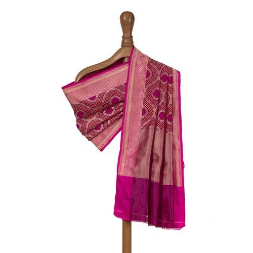 Bandhani Maroon Banarasi Handwoven Silk Dupatta