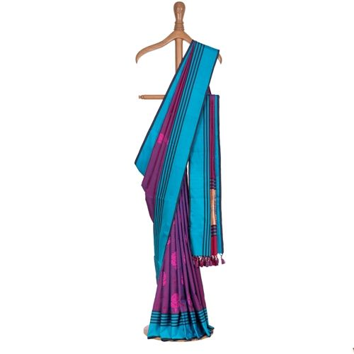 Gulabjal Tanchoi Purple Silk Saree