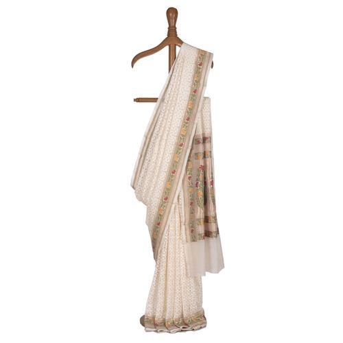 Kalamkari White Kora Silk Saree