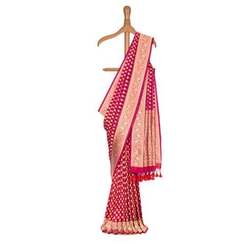 Chunri Buti Strawberry Pink Silk Saree