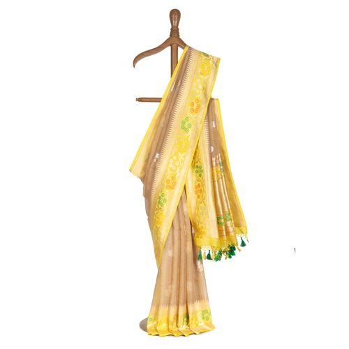 Badami Kora Silk Saree