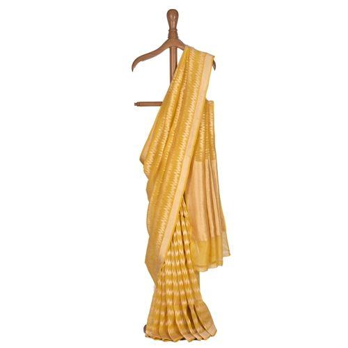 Leheriya Gold Yellow Kora Saree