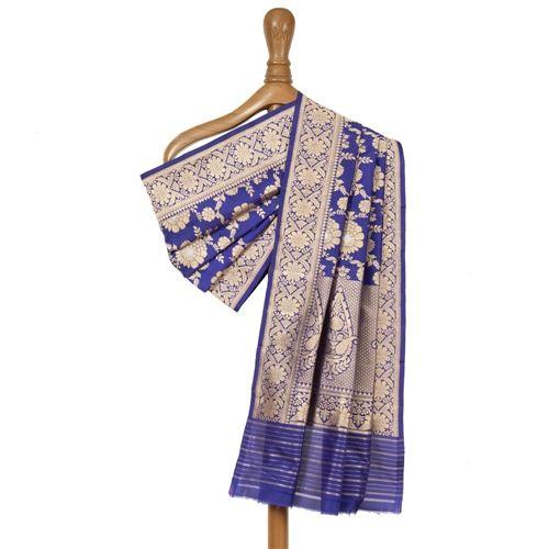 Pushp Bahaar Tanzanite Banarasi Handwoven Silk Dupatta