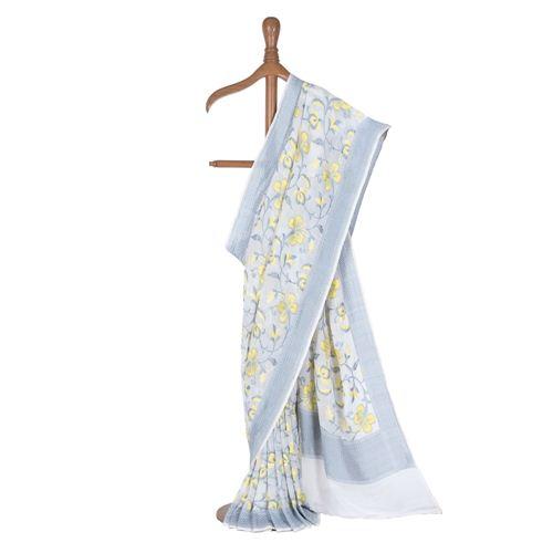Khyazi Banarasi Handwoven White Chiffon Saree