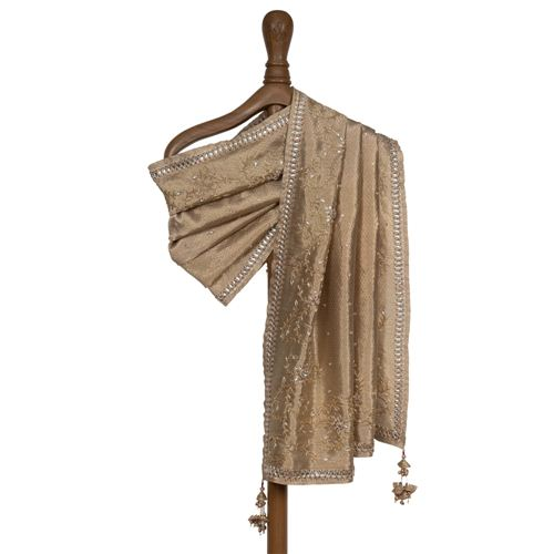 Kundani Embroidered Gold Tissue Silk Dupatta