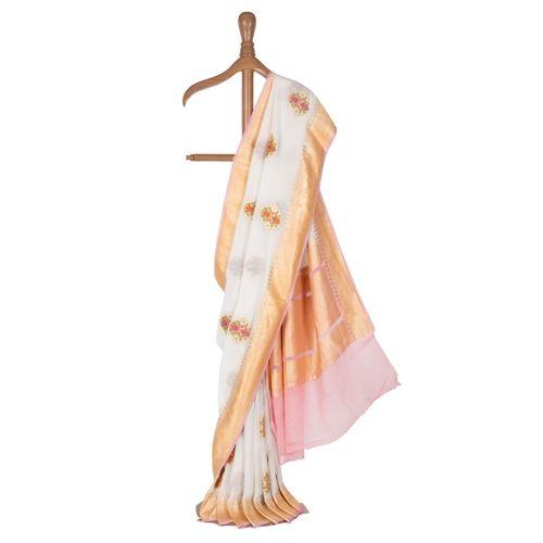 Kafoori Banarasi Handwoven White Chiffon Saree
