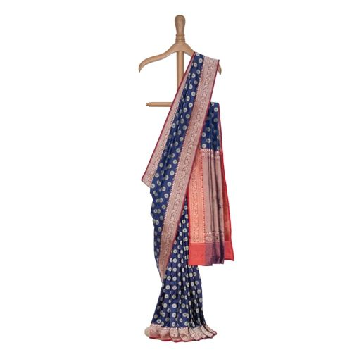 Ashrafi Grandeur Indigo Blue Silk Saree