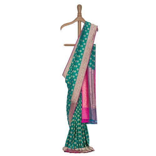 Ashrafi Grandeur Ocean Green Silk Saree