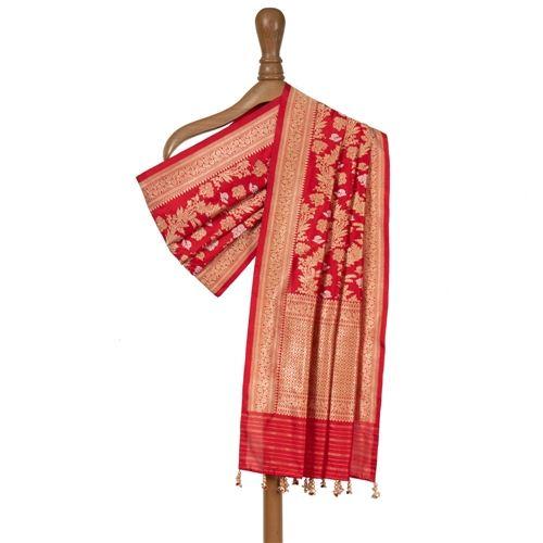 Aada Jungla Red Silk Dupatta