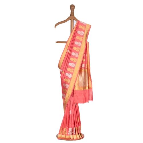 Phulwari Peach Silk Saree