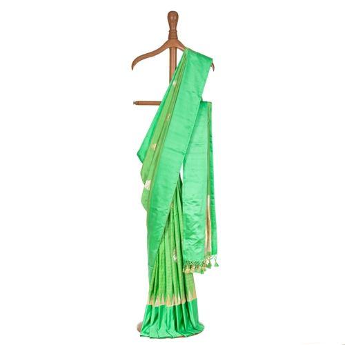 Guldavari Apple Green Satin Silk Saree