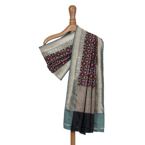 Patola Black Banarasi Handwoven Silk Dupatta