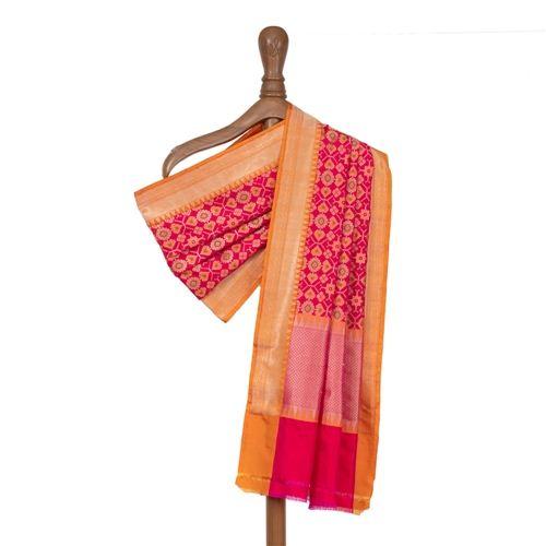 Patola Pink Banarasi Handwoven Silk Dupatta