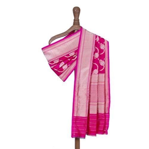 Feriziya Pink Banarasi Handwoven Silk Dupatta