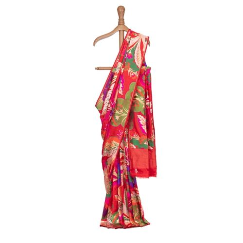 Gyasar Khinkhwab Floral Red Silk Saree