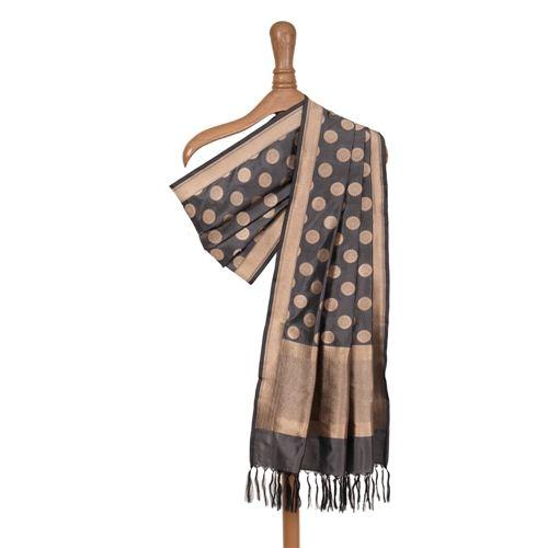 Champa Charcoal Grey Silk Dupatta