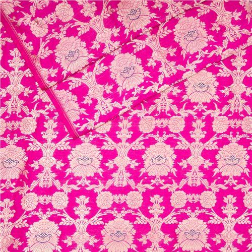 Khinkhwab Jungla Mina Pink Silk Fabric