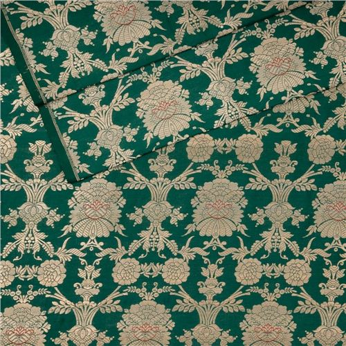Khinkhwab Jungla Mina Chutney Green Silk Fabric