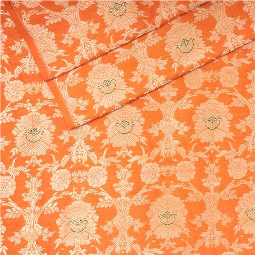 Khinkhwab Jungla Mina Orange Silk Fabric