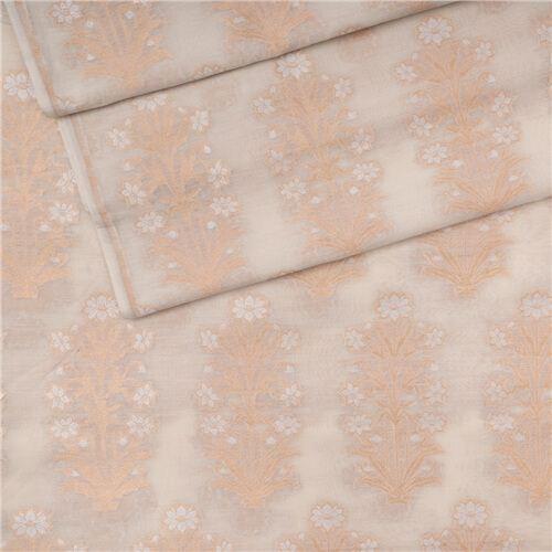 Zainab Pearl White Cotton Banarasi Fabric