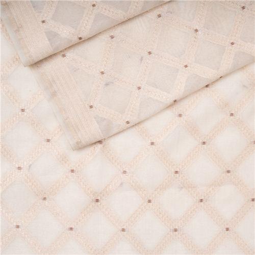 Chaudhani Vanilla Kora Tussar Banarasi Fabric