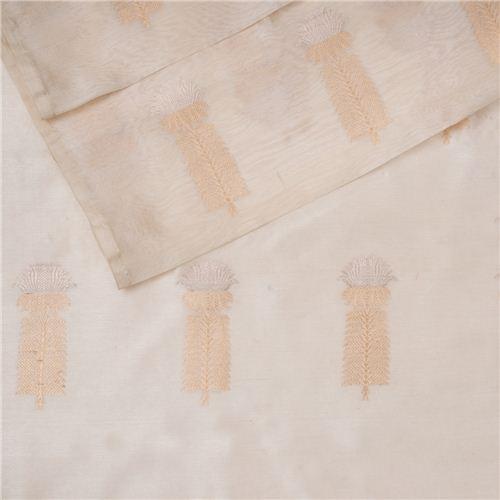 Kamal Buta Cream Kora Tussar Silk Fabric