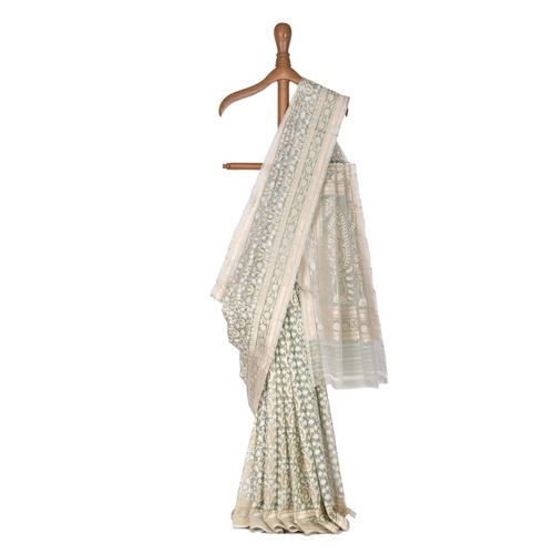 Niraa Kairi Jade Green Kora Silk Saree