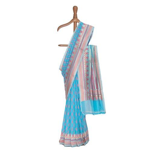 Dhaari Blue Cotton Saree