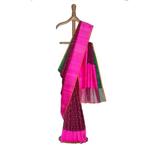 Ganga Jamuna Magenta Kora Silk Saree