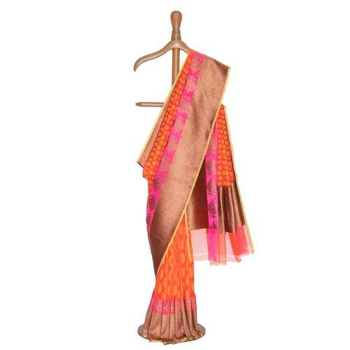 Narangi Kora Silk Saree