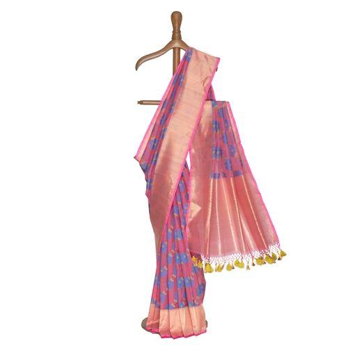 Rosa Pink Kora Silk Saree
