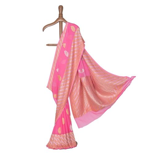 Shareefa Fuchsia Pink Chiffon Saree